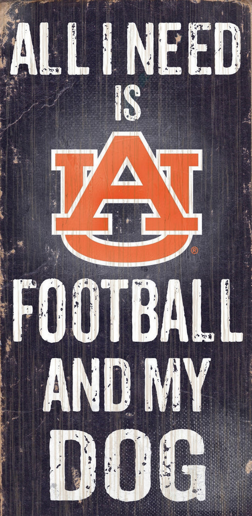 "Auburn Tigers Wood Sign - Football and Dog 6""x12"""