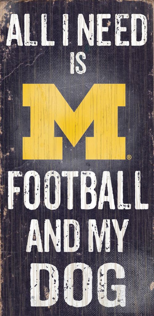 "Michigan Wolverines Wood Sign - Football and Dog 6""x12"""