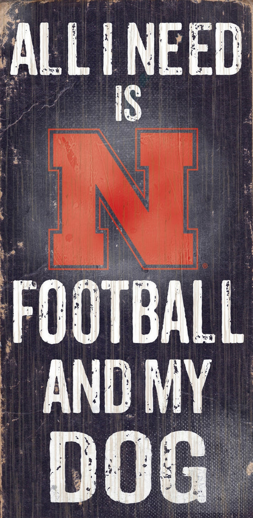 "Nebraska Cornhuskers Wood Sign - Football and Dog 6""x12"""
