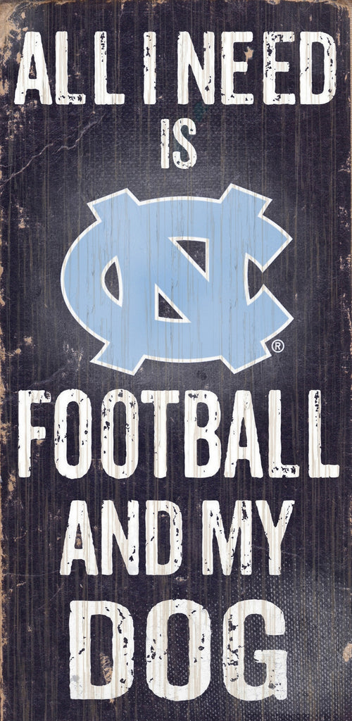 "North Carolina Tar Heels Wood Sign - Football and Dog 6""x12"""