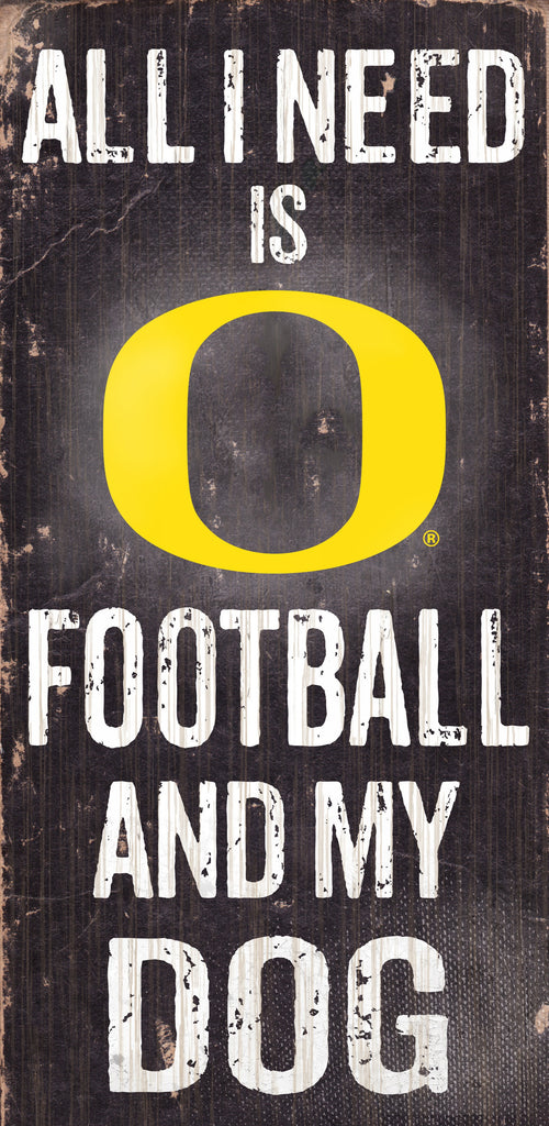 "Oregon Ducks Wood Sign - Football and Dog 6""x12"""