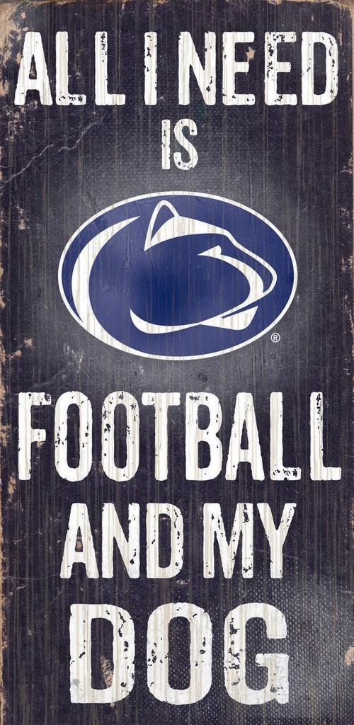 "Penn State Nittany Lions Wood Sign - Football and Dog 6""x12"""