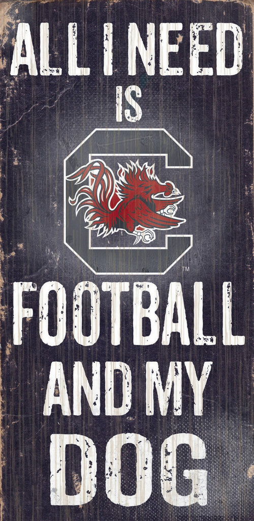 "South Carolina Gamecocks Wood Sign - Football and Dog 6""x12"""
