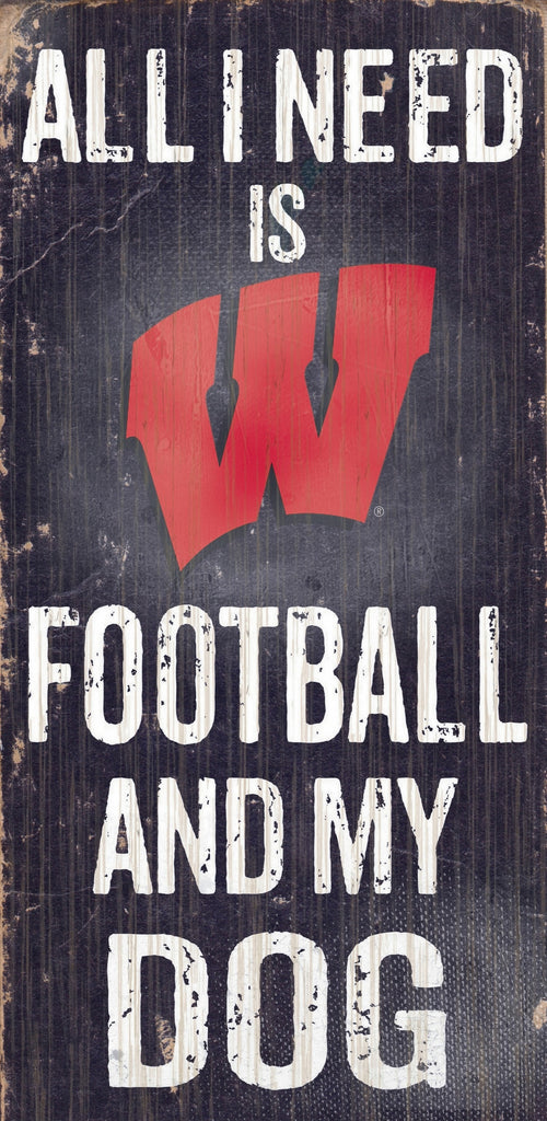 "Wisconsin Badgers Wood Sign - Football and Dog 6""x12"""