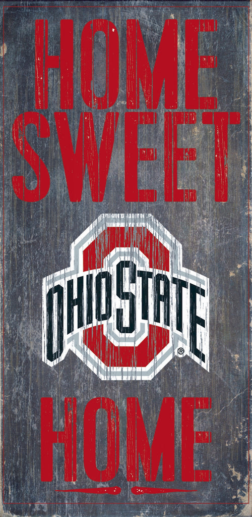 "Ohio State Buckeyes Wood Sign - Home Sweet Home 6""x12"""