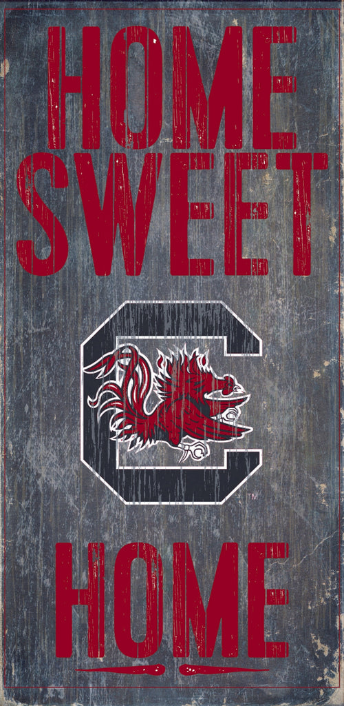 "South Carolina Gamecocks Wood Sign - Home Sweet Home 6""x12"""