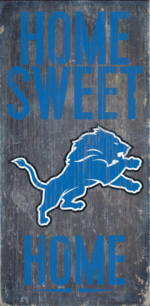"Detroit Lions Wood Sign - Home Sweet Home 6""x12"""