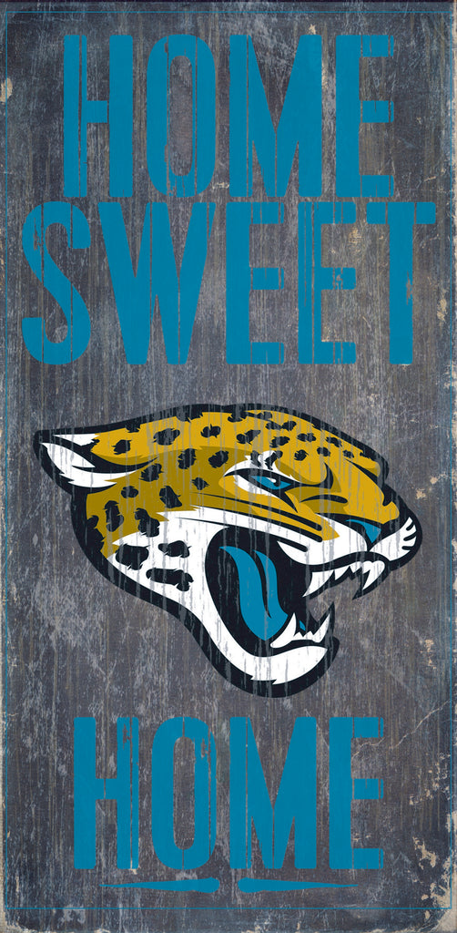 "Jacksonville Jaguars Wood Sign - Home Sweet Home 6""x12"""