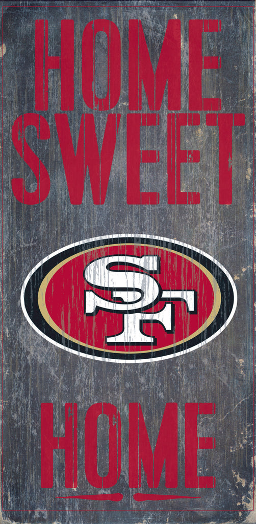 "San Francisco 49ers Wood Sign - Home Sweet Home 6""x12"""