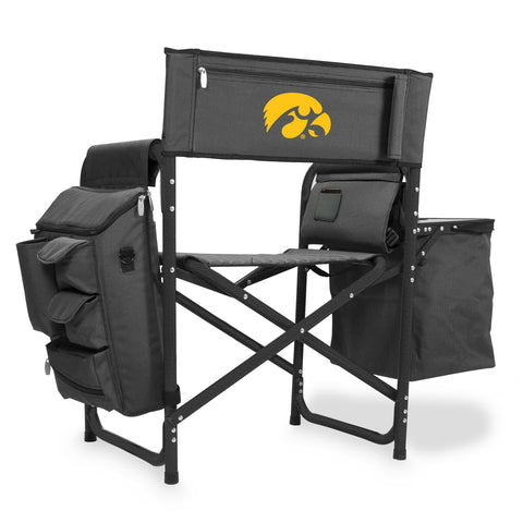 Iowa Hawkeyes 'Fusion' Backpack Chair with Cooler-Fusion Grey/Black Digital Print