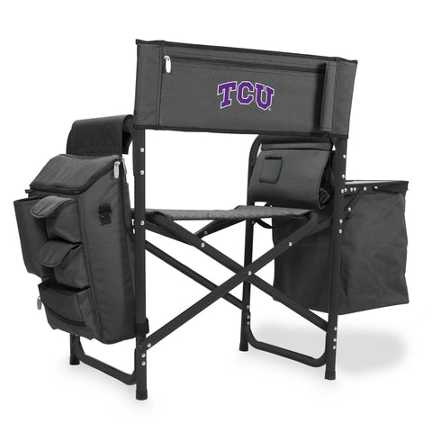 TCU Horned Frogs 'Fusion' Backpack Chair with Cooler-Fusion Grey/Black Digital Print