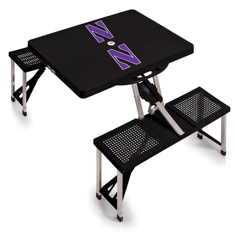 Northwestern Wildcats 'Picnic Table'-Black Digital Print