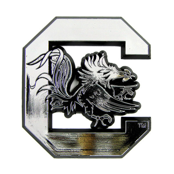 South Carolina Gamecocks Silver Auto Emblem