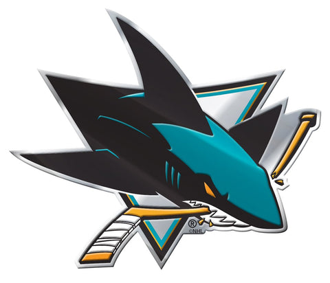San Jose Sharks 'True Fan' Die Cut Color Auto Emblem