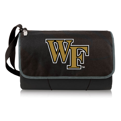 Wake Forest Demon Deacons 'Blanket Tote' Outdoor Picnic Blanket-Black Digital Print