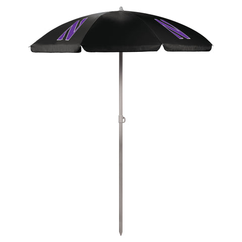Northwestern Wildcats '5.5' Portable Beach Umbrella-Black Digital Print