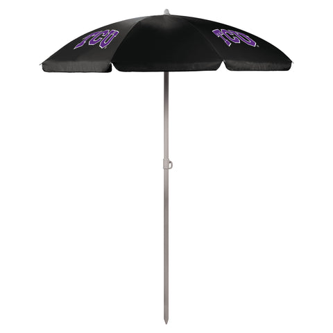 TCU Horned Frogs '5.5' Portable Beach Umbrella-Black Digital Print