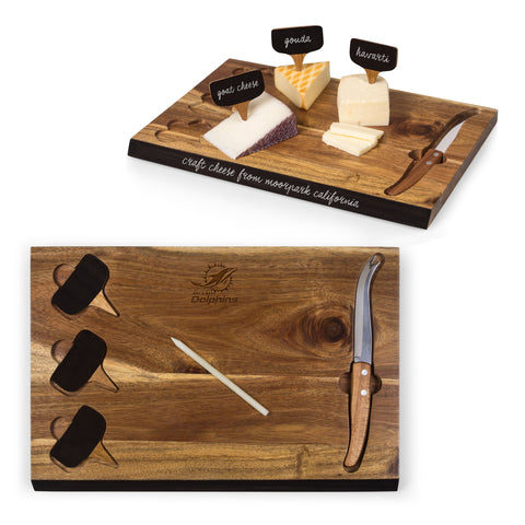 Miami Dolphins 'Delio' Acacia Cheese Board & Tools Set-Acacia Laser Engraving
