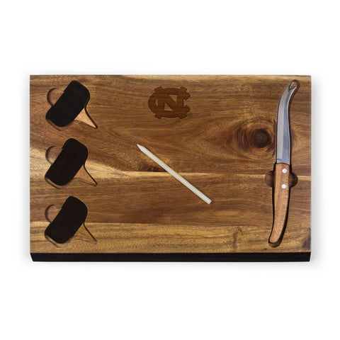 North Carolina Tar Heels 'Delio' Acacia Cheese Board & Tools Set-Acacia Laser Engraving