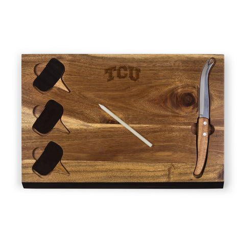 TCU Horned Frogs 'Delio' Acacia Cheese Board & Tools Set-Acacia Laser Engraving
