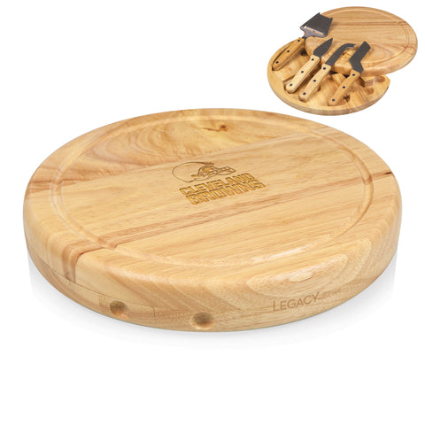 Cleveland Browns 'Circo' Cheese Board & Tools Set-Natural Wood Laser Engraving