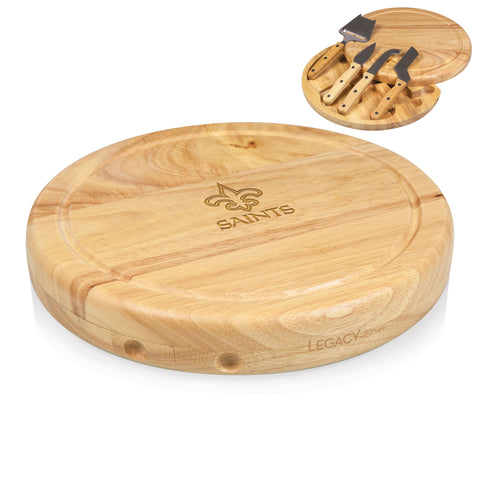 New Orleans Saints 'Circo' Cheese Board & Tools Set-Natural Wood Laser Engraving
