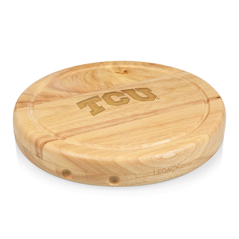 TCU Horned Frogs 'Circo' Cheese Board & Tools Set-Natural Wood Laser Engraving