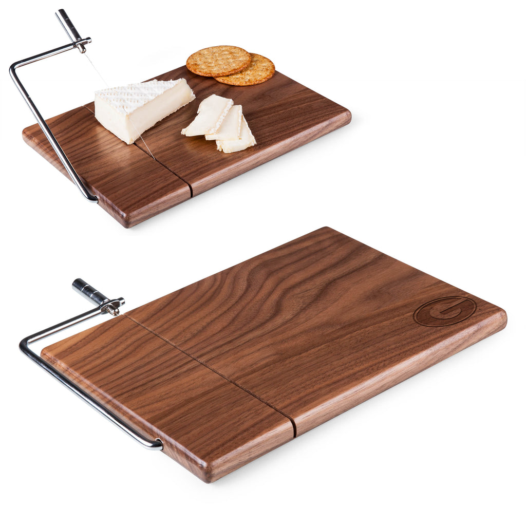 Georgia Bulldogs 'Meridian' Black Walnut Cutting Board & Cheese Slicer-Black Walnut Laser Engraving