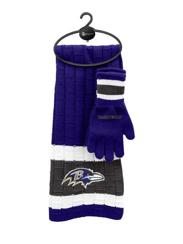 Baltimore Ravens - Limited Edition Heavy Knit Glove & Scarf Gift Set