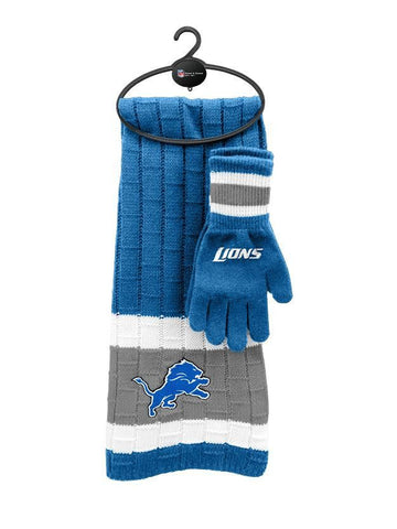 Detroit Lions - Limited Edition Heavy Knit Glove & Scarf Gift Set