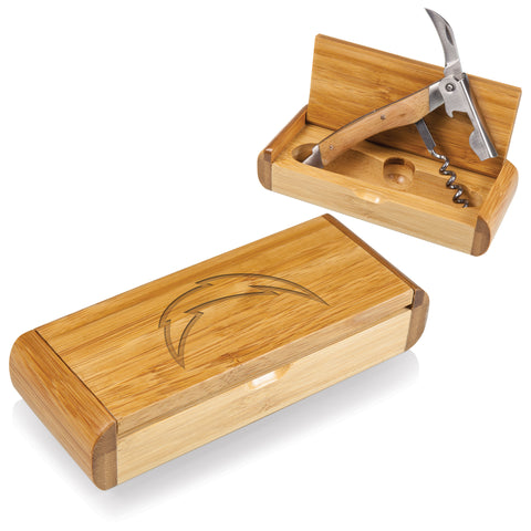 Los Angeles Chargers 'Elan' Corkscrew in Bamboo Box-Bamboo Laser Engraving