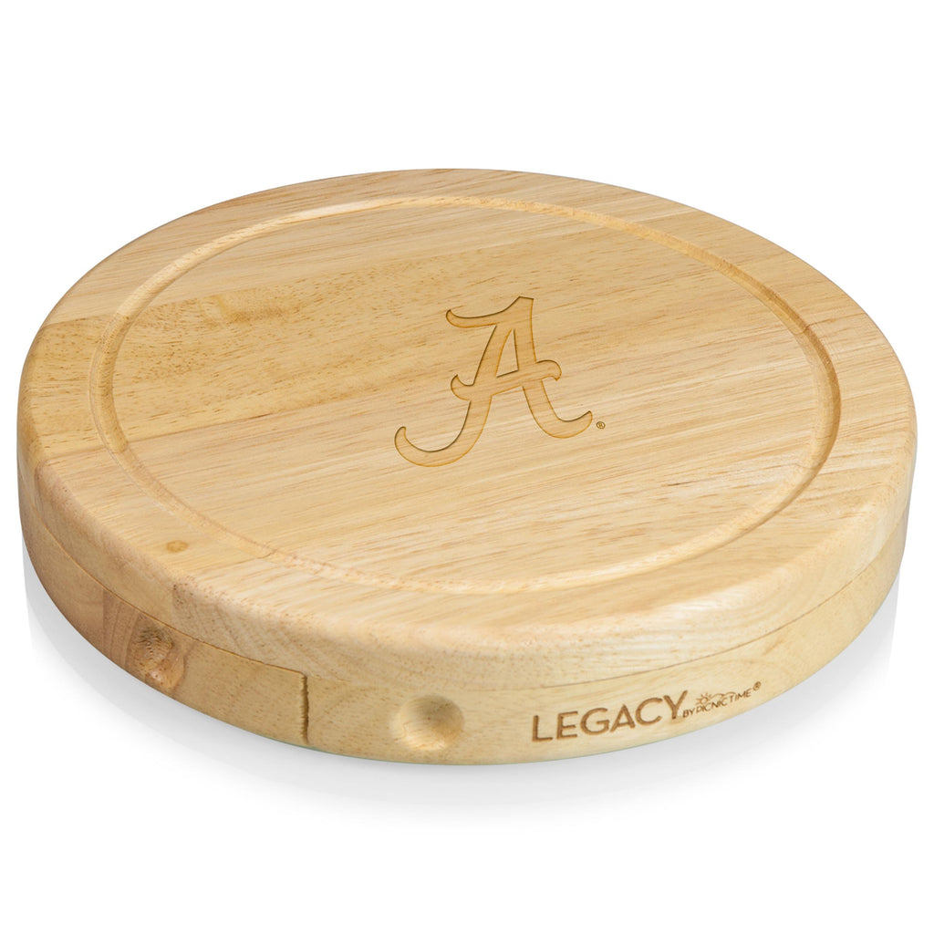 Alabama Crimson Tide 'Brie' Cheese Board & Tools Set-Natural Wood Laser Engraving