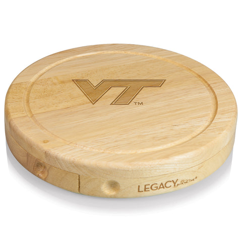 Virginia Tech Hokies 'Brie' Cheese Board & Tools Set-Natural Wood Laser Engraving