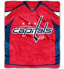 "Washington Capitals 50""x60"" Royal Plush Raschel Throw Blanket - Jersey Design"