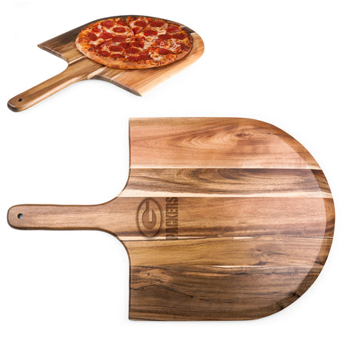 Green Bay Packers 'Acacia Pizza Peel' Serving Paddle-Natural Wood Laser Engraving