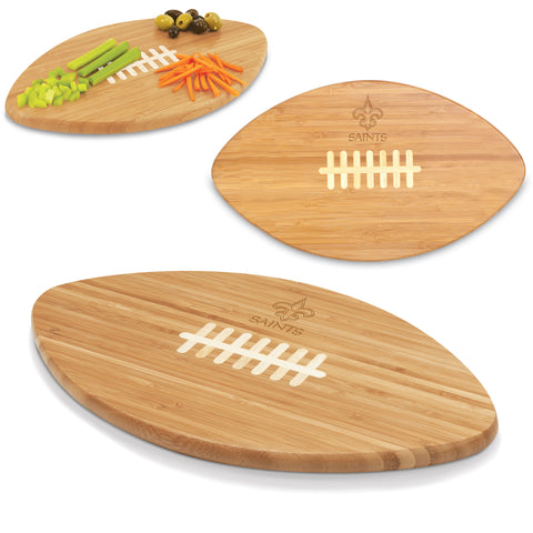 New Orleans Saints 'Touchdown! Pro' Football Cutting Board & Serving Tray-Bamboo Laser Engraving