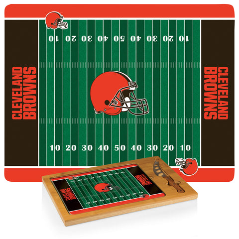 Cleveland Browns 'Icon' Glass Top Serving Tray & Knife Set-Football Design Digital Print