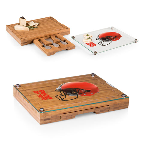 Cleveland Browns 'Concerto' Glass Top Cheese Board & Tools Set-Bamboo Digital Print