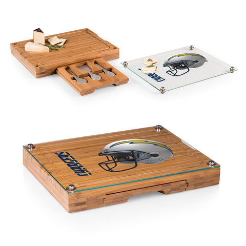 Los Angeles Chargers 'Concerto' Glass Top Cheese Board & Tools Set-Bamboo Digital Print
