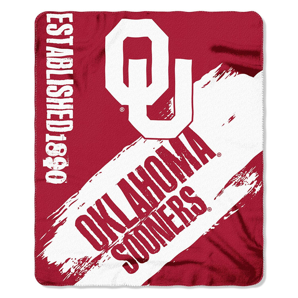 Oklahoma Sooners NCAA Fleece Blanket Painted Design