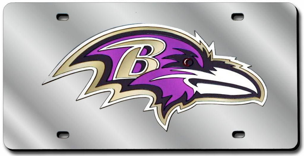Baltimore Ravens Laser Silver Cut License Plate