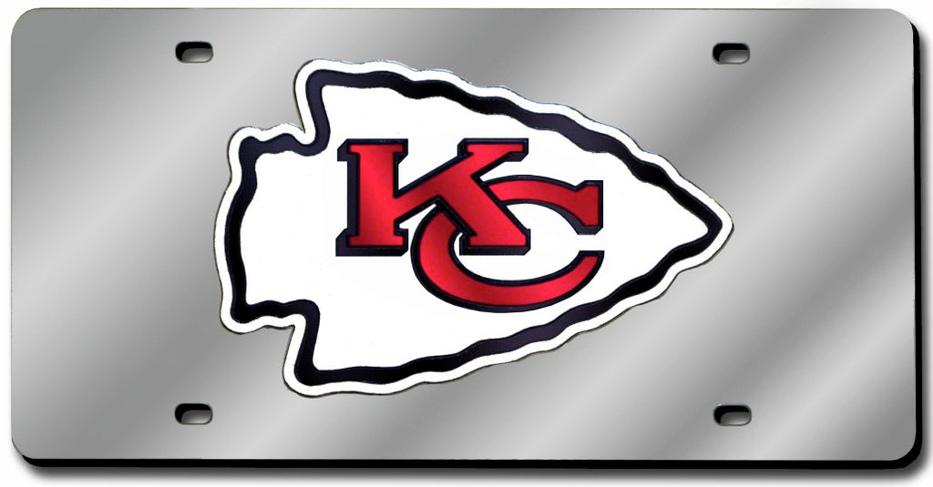 Kansas City Chiefs Laser Cut Silver License Plate