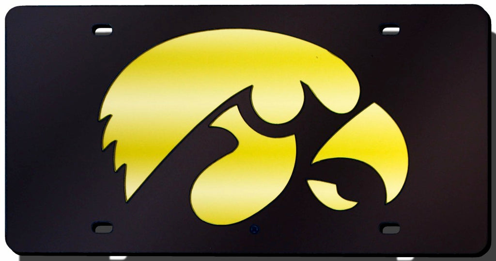 Iowa Hawkeyes Black Laser Cut License Plate