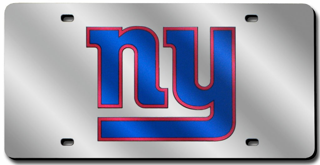 New York Giants Laser Cut Silver License Plate