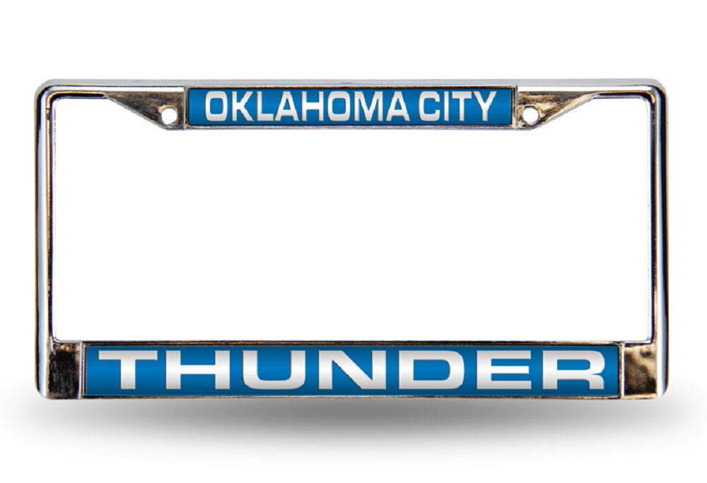 Oklahoma City Thunder Laser Cut Chrome License Plate Frame - Blue