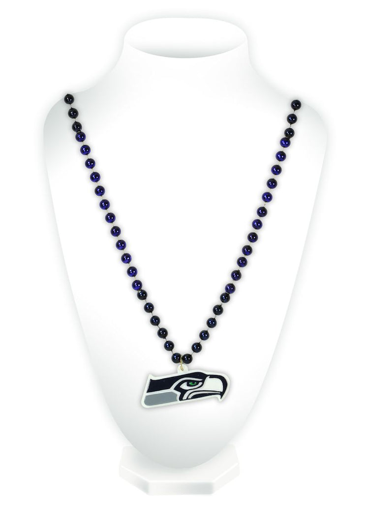 Seattle Seahawks Mardi Gras Beads with Medallion