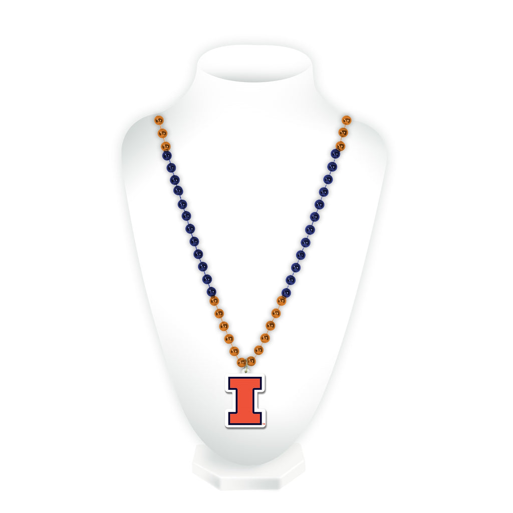 Illinois Fighting Illini Mardi Gras Beads with Medallion