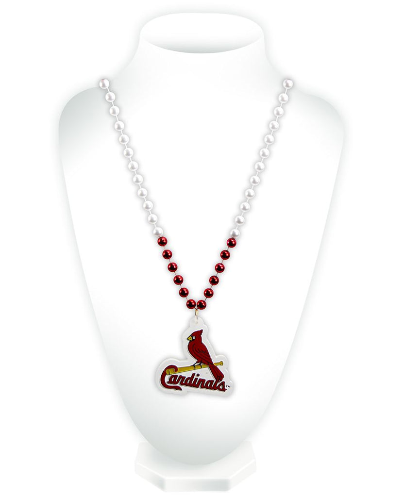 St. Louis Cardinals Mardi Gras Beads with Medallion