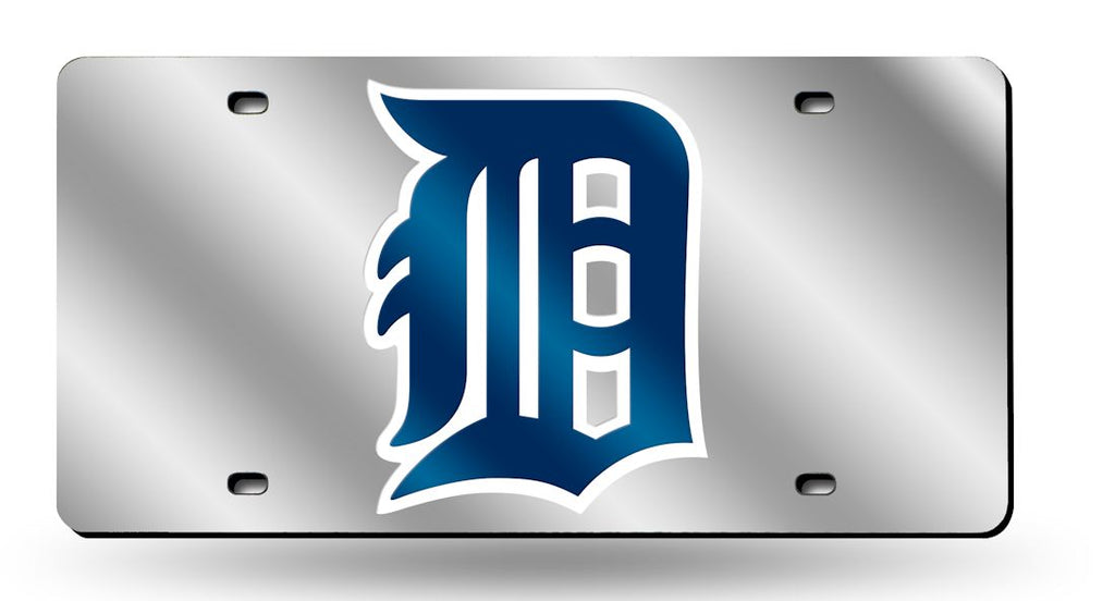 Detroit Tigers Laser Cut Silver License Plate
