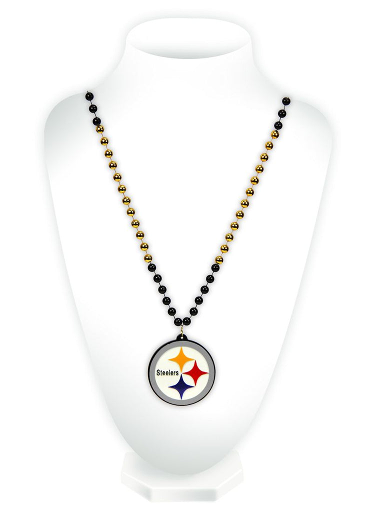Pittsburgh Steelers Mardi Gras Beads with Medallion